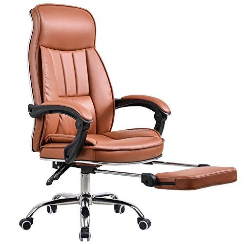 Tqzy Office Chair High Back Executive Chair Brown Faux Leather Comfy Reclining Office Chair Pc Chair S Office