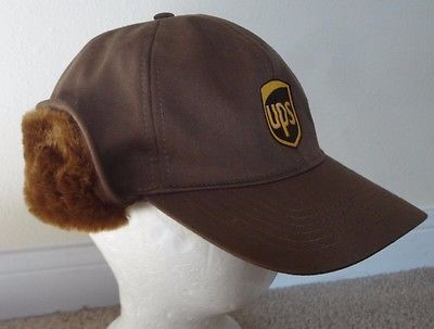 Twinhill Large Brown UPS Logo Hat Cap United Parcel Service Faux Fur Ear  Flaps  3b275301c6f9