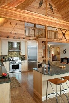 Could bring walls in a bit on sides??? Elk Mountain House - rustic - kitchen - philadelphia - E. B. Mahoney Builders, Inc.