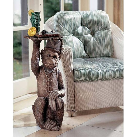 "Design Toscano Exclusive 29½"" Moroccan Monkey Butler Pedestal Sculptural Table #DesignToscanoExclusive #Moroccan"