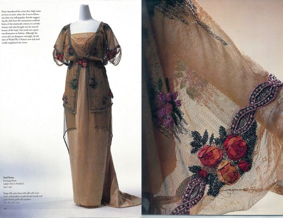 Paul Poiret, Evening dress, 1910-1911. Beige silk satin with silk tulle overdress; embroidery of polychrome beads and gold threads; gold tulle peplum.