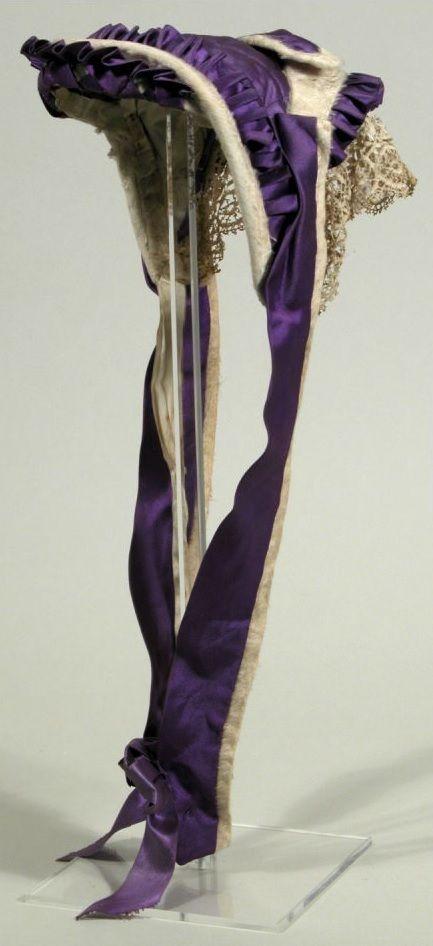 Mourning bonnet, 1865-1870