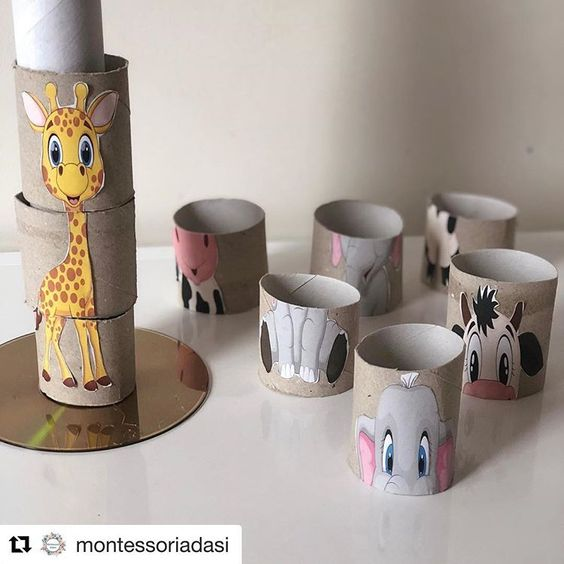 Ok so who doesn't have a 💯 toilet 🚽 paper rolls !! Well thanks to @montessoriadasi and this fun DIY grab a few add a favorite 🦒 animal and…