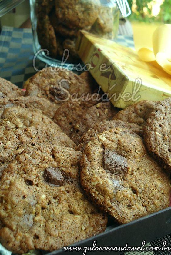 Foto dos Cookies de Aveia com Chocolate Amargo