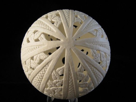 Nellie Whitener carves some amazing eggshell designs. This is an Ostrich Egg, hand carved using high speed engraving equipment.