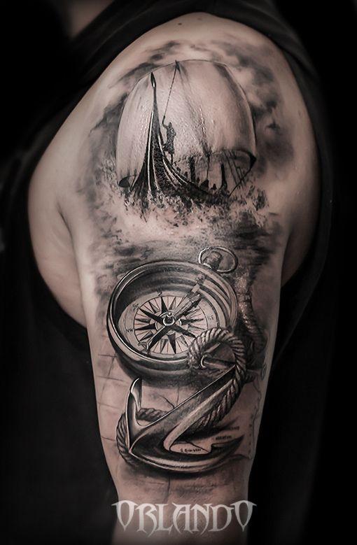 Compass Sea And Sailing Ship Realistic Tattoo By Antonio Orlando