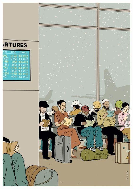 Lectura mientras se espera (ilustración de Adrian Tomine)