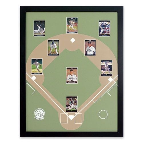 """Baseball Sports Board. Display your favorite Baseball Cards. Place your favorite players from your favorite team in their positions on this 22 x 28"""" (outside) frame with a baseball diamond backing. #baseball #frame #sports #display"""