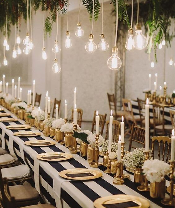 Gold Wedding Table Decorations: Entertaining + Party Ideas