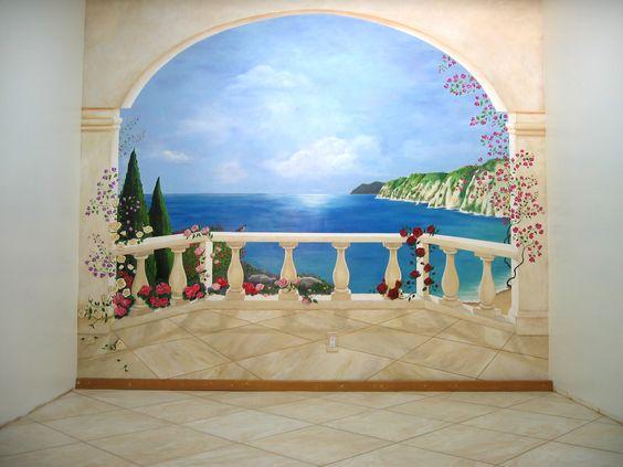 Oeil trompe wall mural trompe loeil curtains wall murals murals pinterest venetian wall - Trompe loeil hoofd bed ...