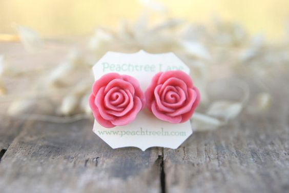 Large Dusty Pink Rose Stud Earrings Pale Pink by peachtreelane, $8.00