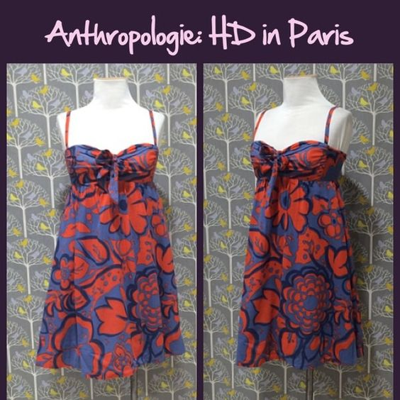 """Anthro """"Tied Campunula Dress"""" by HD in Paris Adjustable/removable shoulder straps, smocked back of bodice, pull on styling. Tts. Woven cotton with cotton lining. Great condition. **  Prices are as listed- Nonnegotiable.  I'm happy to bundle to save shipping costs, but there are no additional discounts.  No trades, paypal or condescending terms of endearment  ** Anthropologie Dresses"""