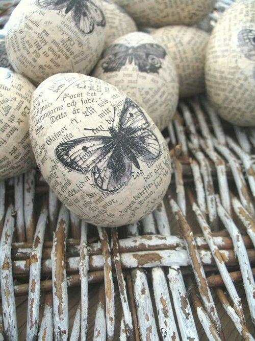 eieren omwikkeld met tekstpapier en een vlinder: