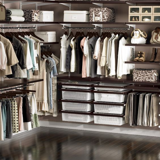 Walnut  White elfa décor Master Walk-In Closet: