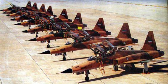 Iranian Northrop F-5s on the flightline, Iran-Iraq War.