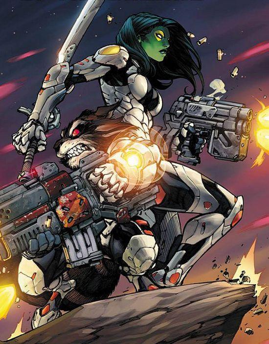 Gamora And Rocket Raccon By Joe Madureira Rocket Raccoon Marvel Gamora