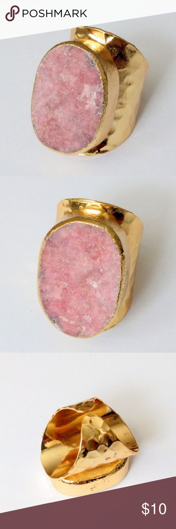 "Genuine pink thulite gold-plated statement ring Wow!  Natural beauty meets a bold, modern design in this impressive gold-plated stunner!  Genuine thulite takes center stage...a gorgeous stone that's an absolute must-see in person!  About a size 7; nickel and lead free.  PRICE IS FIRM and extremely reasonable, but click ""add to bundle"" to save 10% on your purchase of 2+ items! Jewelry Rings"