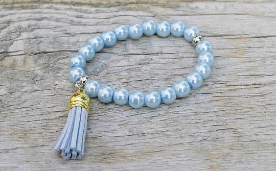 Aqua blue beaded tassel bracelet