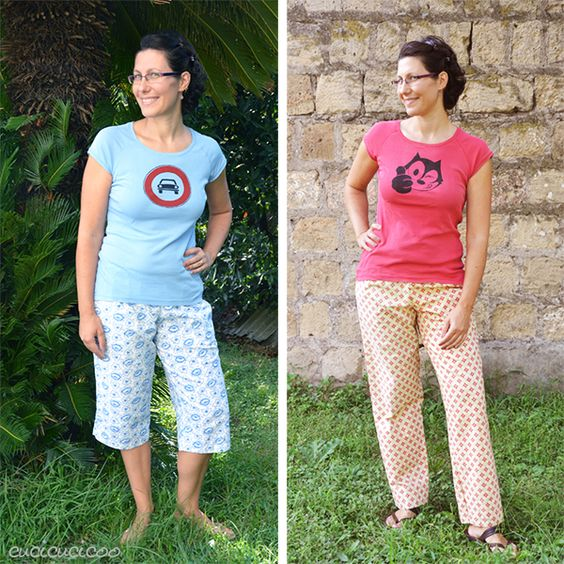 PDF sewing pattern: Oenothera Biennis Pajama Pants for women by Cucicucicoo Patterns - 3/4 and pants lengths - www.cucicucicoo.com