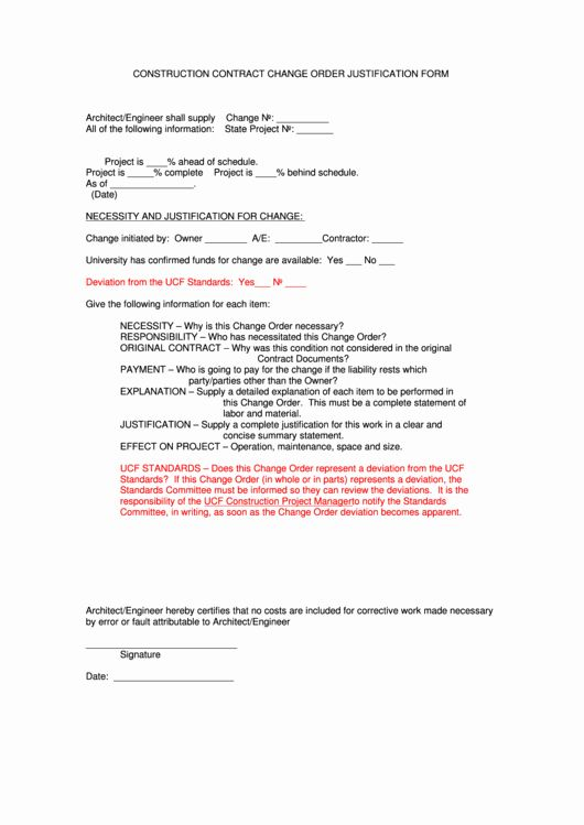 Bank Change Order Form Template Unique Construction Contract Change Order Justification F Order Form Template Order Form Template Free Templates Printable Free