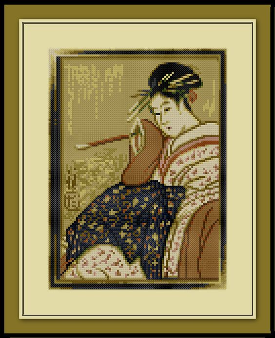 Geisha Cross Stitch Pattern Traditional Japanese Scroll by SpriteStitches on Etsy