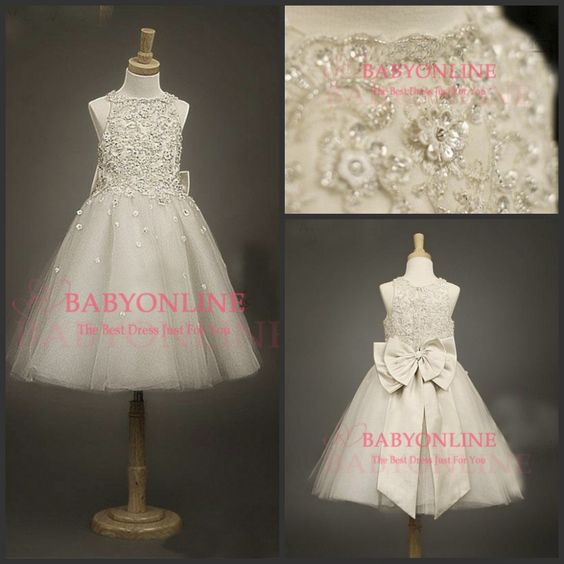 2014 New Arrival Princess Tulle Flower Girls' Dresses Formal Party Gown A-Line With Beaded Ivory Lace Bow Sequins Ankle-Length
