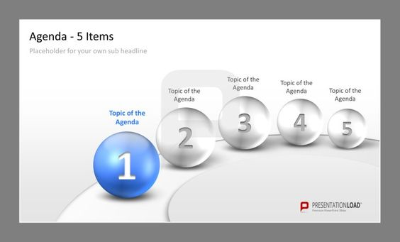 Professional PPT Agenda Template 5 elegant items to present your - microsoft templates agenda