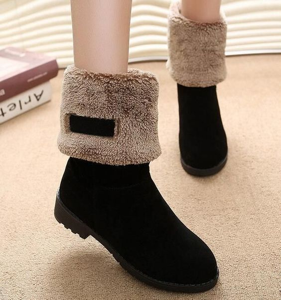 Vogue Chic Womens Faux Fur Lined Low Heels Cuffed Casual Winter Mid Calf Boots