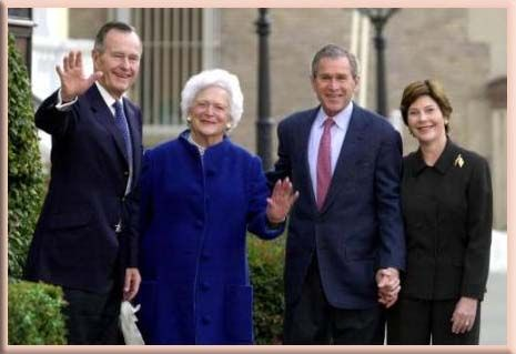 41st President, George H. W. Bush and wife Barbara with their son and the 43rd President, George W. Bush and wife Laura
