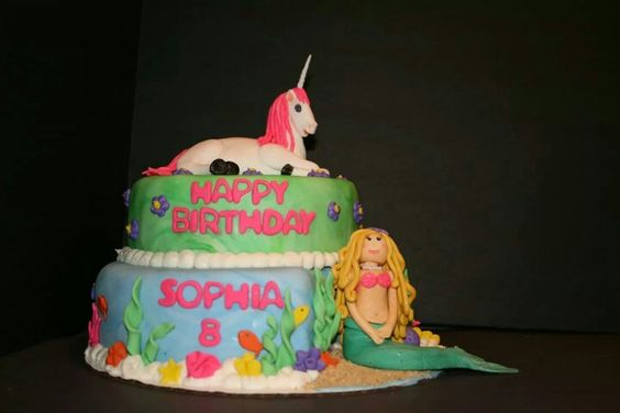 Mermaid And Unicorn Birthday Cake Tops Unicorns Friends On Pinterest