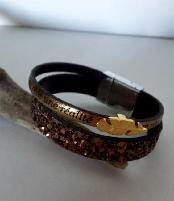 """Bracelet 2 rangs cuir lanière pailletée bronze , lanière cuir à message dorée """"fait de ton rêve une réalité"""", : Bracelet par creationsannaprague"""