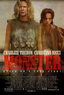 """""""Monster"""" (dir. Patty Jenkins, 2003) --- Based on the true story of Aileen Wuornos (Charlize Theron), a Daytona Beach prostitute who became a serial killer. Also starring Christina Ricci as her girlfriend Selby. MY RATING: 4/5 Stars"""