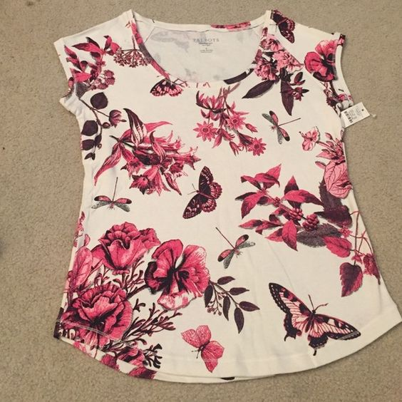 Talbots Butterfly Floral Top Talbots Butterfly Floral Top. Size. Small.  New. Never used. Tags attached. 100% Cotton Talbots Tops Tees - Short Sleeve