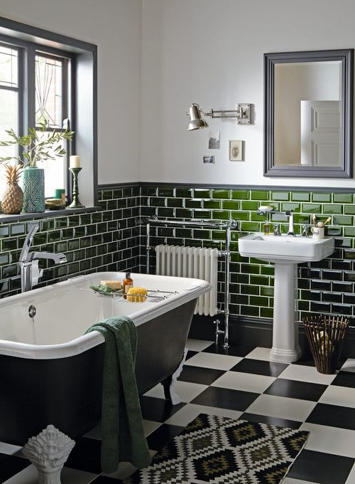 7 Vintage Bathrooms Style And Function Town Country Living Victorian Style Bathroom Bathroom Style Green Tile Bathroom
