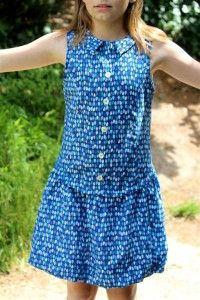 robe zoé (chemisier sans manche et jupe boule) patron Madame Maman 13 euros 8-12 ans