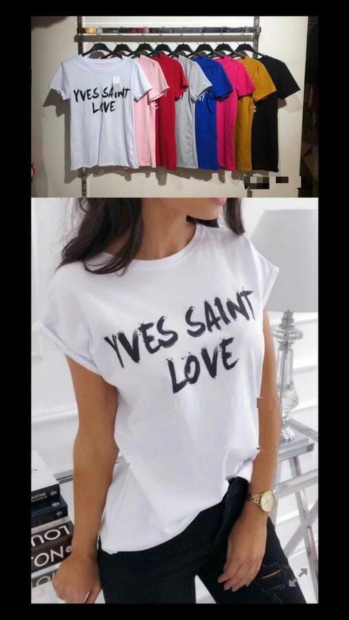 NEW Womens Ladies Short Sleeve /'Yves Saint Love/' Slogan Printed T-shirt Tee Tops