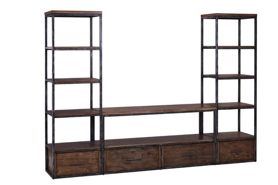 Industrial Rustic TV Stand Media Console with Bookcases Book Shelves for Living Room Medium Oak Tribesigns Large 3-Piece Entertainment Center Wall Units with Storage Shelves