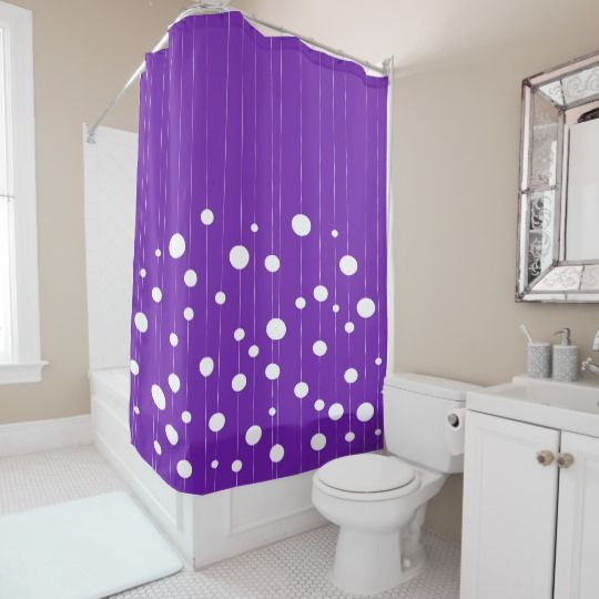 Dots At Strings Modern Purple And White Pattern Shower Curtain