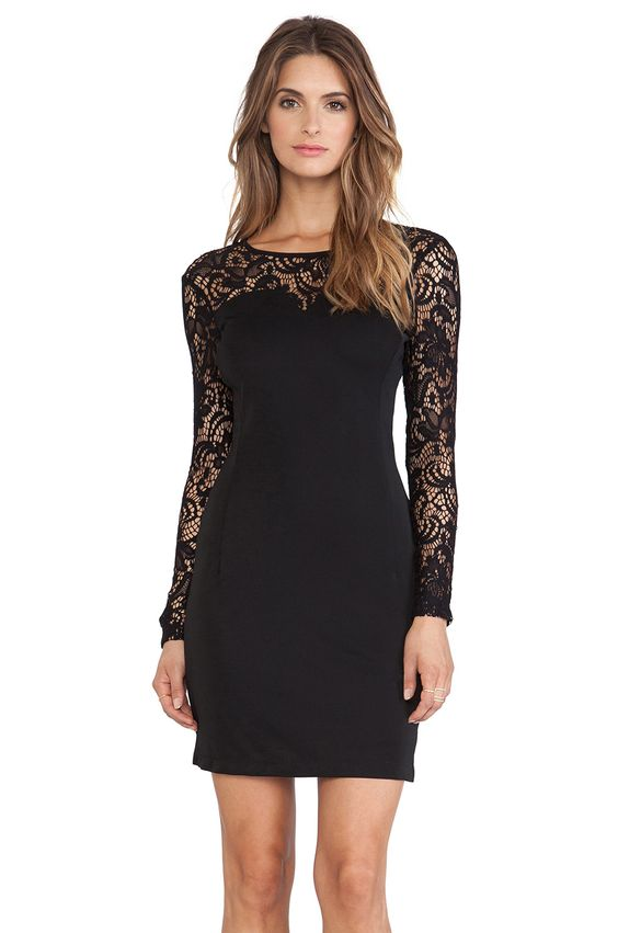 BLACK Jersey Long Sleeve Dress - Lace- Dressing and Sleeve dresses