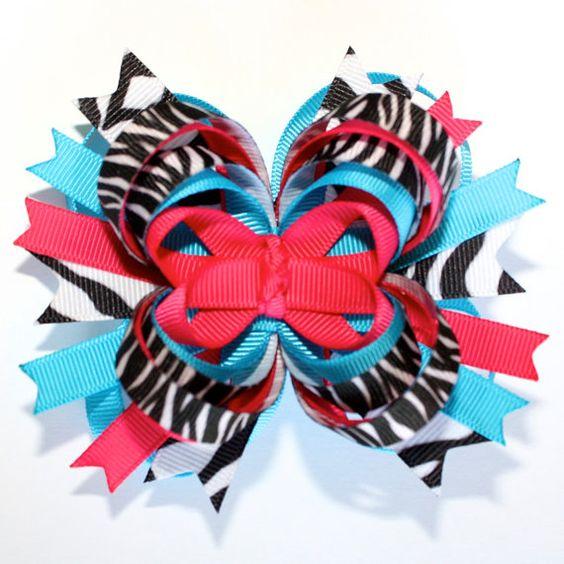 Hot Pink Blue Zebra Print Stacked Boutique Hair Bow...M2M Mud Pie Wild Child