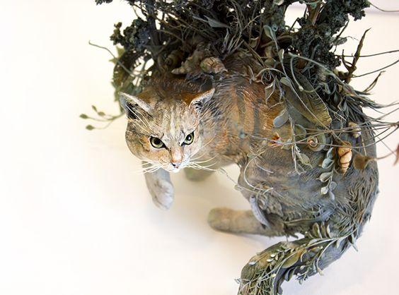 the longest days of summer, Ellen Jewett 2016.  Natural history surrealism wild cat sculpture