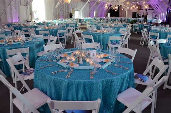 Funk blue sequined table linen, add some shimmer to your table! Stop by 510 Union St., Schenectady, NY to see it in person!