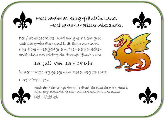 Text fu00fcr Einladungskarte Kindergeburtstag Ritter : Ritter ...