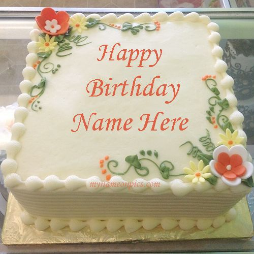 Write Name On Birthday Flowers Cake Happy Birthday Cakes