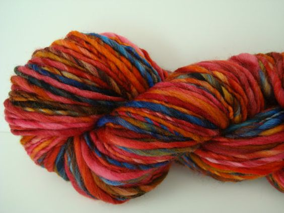 Handspun Thick & Thin Singles Yarn Fire and Ice by moondogswife, $32.00
