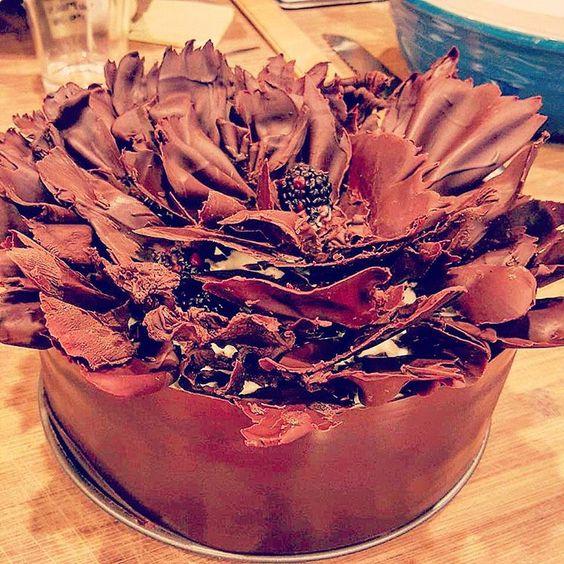 "Alice Medrich ""Baking With Julia"" blackberry chocolate ruffle cake- whipped cream around berries, choc creme fraiche and sweetened creme fraiche on top"