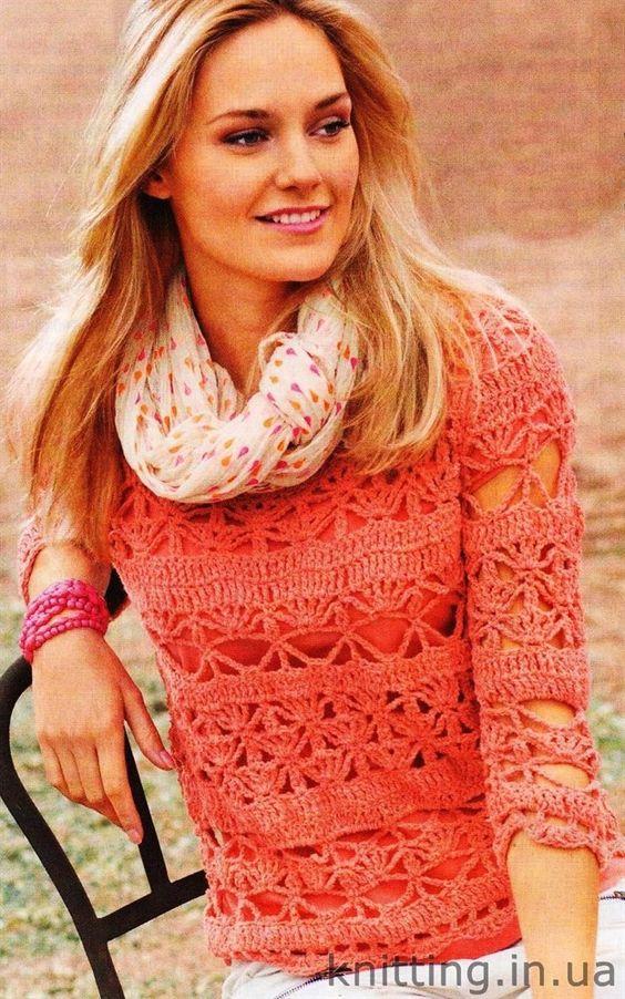 Пуловер, связанный крючком