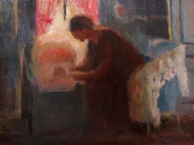 """""""Mother and child in bassinet at window"""" - Paul Sieffert (1874 - 1957)"""