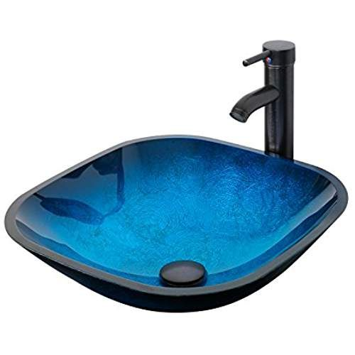 Eclife Ocean Blue Square Tempered Glass Sink Amazon Glass