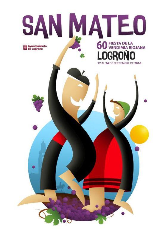 Cartel 2º Accesit Logroño San Mateo 2016.  'Compartiendo juntos', de Begoña Sáinz de Murieta Arriaga.